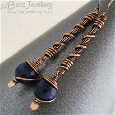 Hand Crafted Jewellery by Boo - original jewellery in copper, bronze and Sterling silver - Deep blue jade long drop spiralled earrings (Powered by CubeCart) Copper Jewelry, Wire Jewelry, Jewelry Crafts, Jewelry Art, Beaded Jewelry, Jewelery, Jewelry Design, Copper Wire, Bijoux Wire Wrap