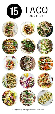15 Taco Recipes (Gimme Some Oven) - Rezepte - Tacos Think Food, I Love Food, Good Food, Yummy Food, Tasty, Mexican Dishes, Mexican Food Recipes, Dinner Recipes, Cooking Recipes