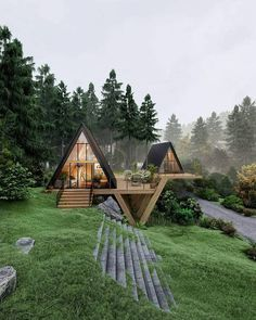 Cottage Home Plans Cottages are heat, quaint, and welcoming. Our cottage home plans embrace designs with bungalow and Craftsman traits, sometimes on t. A Frame House Plans, A Frame Cabin, Tiny House Cabin, Cabin Homes, Tiny Homes, Forest House, Cottage Design, Cabins In The Woods, Modern House Design