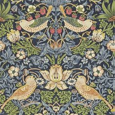 Strawberry Thief Wallpaper from William Morris Archive Wallpapers 2 Collection. A charming floral wallpaper featuring thrushes amongst stylised strawberry plants on an indigo background. William Morris Wallpaper, Morris Wallpapers, Blue Wallpapers, Hd Backgrounds, Art Nouveau, Print Wallpaper, Fabric Wallpaper, Wallpaper Designs, Liberty Wallpaper