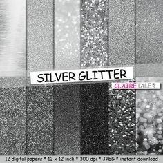 """Silver digital paper: """"SILVER GLITTER""""  silver paper backgrounds with shiny texture in different shades of silver / silver  backdrop by clairetale. Explore more products on http://clairetale.etsy.com"""