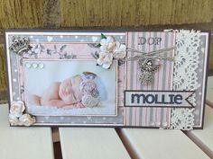 Randis hobbyverden: DÅPSKORT rosa/grått/hvitt Mollie