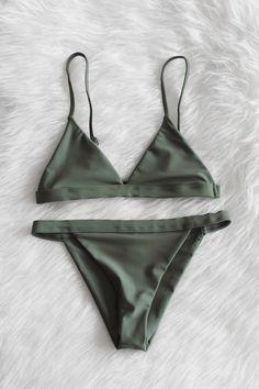 Olive Minimalist Bikini Set (originally pinned by Kristen Shawn) - Bikinis Haut Bikini, The Bikini, Bikini Babes, Bikini Tops, Cheeky Bikini, Bikini Bottoms, Bikini Swimwear, Swim Suits Bikinis, Green Bikini Set