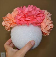tissue flower pomander ball tutorial