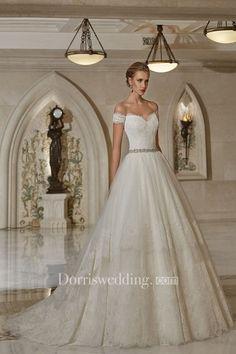 A-line Off-the-shoulder Sweetheart V Back Lace Dress With Crystal Detailing  - Dorris Wedding