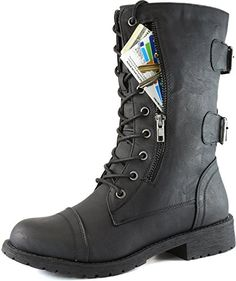 Women's Military Up Buckle Combat Boots Mid Knee High Exclusive Credit Card Pocket, Black, 10