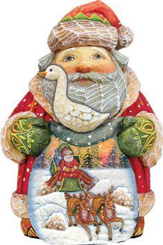Derevo Christmas Goose Santa Figurine
