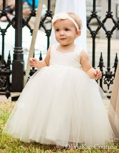 Flower Girl Dress Ivory Cotton. $114.95, via Etsy.