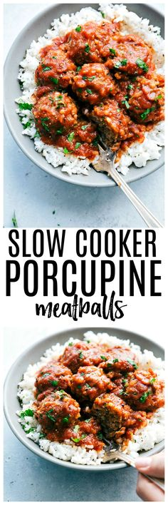 Slow Cooker Porcupine Meatballs are hearty and delicious meatballs filled with rice and served with a rich tomato sauce. This is a classic meal that the family will love!!