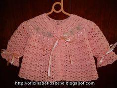 Step-by-step baby cardigan Baby Cardigan, Baby Pullover, Crochet Cardigan, Baby Girl Crochet, Newborn Crochet, Crochet For Kids, Thread Crochet, Knit Crochet, Spool Knitting