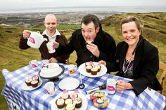 Radio and TV presenter Grant Stott launches Cake Break in Scotland, 822ft above Edinburgh. Grant is joined by MS Nurse Matthew Justin and Consultant Neurologist Belinda Wellar.    ©DN Anderson