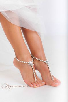 94abaf7091a4 Beaded barefoot sandals-Bridal foot jewelry-Pearl and Rhinestone Starfish  Beach wedding Barefoot Sandals