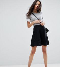 f036cc3507 ASOS TALL Mini Skater Skirt with Pockets - Black Black Skater Skirt Outfit