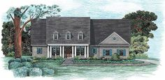 This remarkable Colonial style home with country influences (House Plan #120-1971) has over 2250 square feet of living space. The one story floor plan includes 3 bedrooms.
