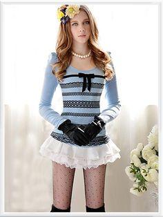 Morpheus Boutique  - Blue Pattern Bow Princess Shoulder Long Sleeve Top , $59.99 (http://www.morpheusboutique.com/blue-pattern-bow-princess-shoulder-long-sleeve-top/)