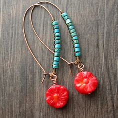 Turquoise and coral wire wrapped earrings  long by southwinddesign, $28.00
