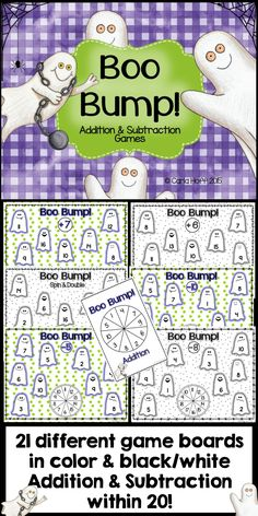 Print & play bump games for addition and subtraction within 20 (boards for each addend +1 to +10, and the corresponding subtraction facts, AND doubles!).  My kids are so crazy for bump--these are a sure winner!