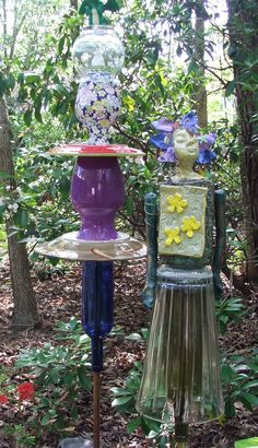 two of Garden Goddess totems made from found objects and my own ceramic work. TammyVitale.com