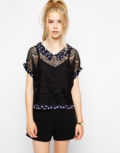 Miss Patina Lace Blouse With Bird Print Collar
