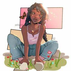 Black Cartoon Characters, Black Girl Cartoon, Black Art Painting, Black Artwork, Black Love Art, Black Girl Art, Cute Art Styles, Cartoon Art Styles, Fille Anime Cool