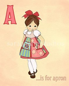 A is for Apron - Sarah Jane Studio Cute Alphabet, Alphabet Cards, Alphabet Book, Alphabet And Numbers, Scrapbook Recipe Book, My Scrapbook, Cute Drawings, Drawing Sketches, Cool Aprons