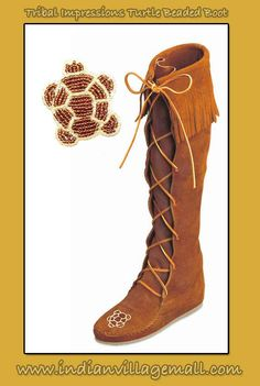 Front Lace Hardsole Minnetonka Knee Hi Fringed Boot  With Hand Beaded Turtle Embellishment From Tribal Impressions - Review off of: http://www.indianvillagemall.com/mocs/turtleboot.html
