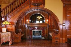 Inglenook at 1890 House Museum in downtown Cortland, New York. This grand limestone mansion, built by successful industrialist Chester F. Wickwire, is a symbol of the grandeur of the Victorian and Gilded ages.