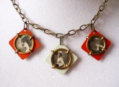 Ladies of the Family Antique Necklace - Vintage Photos in Celluloid Charms - Double Sided - 6 Photos - 1920s - 1940s