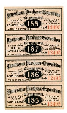 1904 St Louis Worlds Fair and Olympic Games Strip of 4 Tickets | eBay