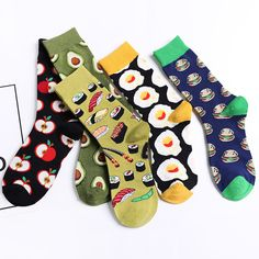 Product Name Japanese Korean Harajuku autumn and winter new dessert food series creative pattern tube unisex socks Product Category Underwea. Funky Socks, Crazy Socks, Cute Socks, Cute Cartoon Food, Food Socks, Arte Van Gogh, Happy Socks, Cotton Socks, Unisex Fashion