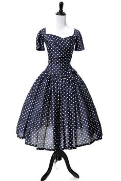 1950's Gigi Young Silk Polka Dot Dress
