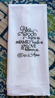 Items similar to Farmhouse Decor Bless Food Before Us Family Prayer Flour Sack Dish Towel Farm Font Floursack Kitchen Tea Towels Thanksgiving Christmas Gift on Etsy – Cute and Trend Towel Models Dish Towels, Tea Towels, Dish Towel Crafts, Hand Towels, Farm Fonts, Bless The Food, Prayer For Family, Flour Sack Towels, Shabby Chic Cottage