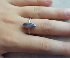 Solid Opal Ring featuring Flashy Purple Crystal by AllAussieOpals