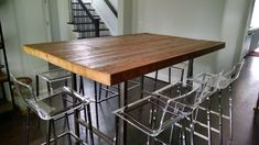 Reclaimed Wood Restaurant Table, Bar Height Pub Table, with thick top, with steel legs in your choice of color, size and finish