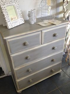 Chalk paint TM Annie Sloan Paris grey and old white finished in clear and dark wax...