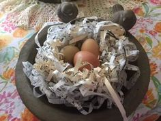 PAPER NEST WITH EGGS, WIRE AND PAPER STRIP NEST,BOOK PAGE NEST, DIY PAPER NEST