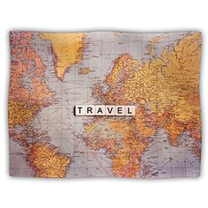 Kess InHouse Sylvia Cook Travel Map Pet Blanket 50 by 60Inch World ** Want to know more, click on the image.