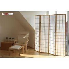 4 fach Holz Paravent Shoji Raumteiler Trennwand in natur: Amazon.de: Küche & Haushalt