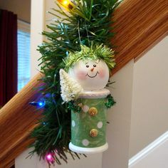 Old Fashioned Snowman Ornaments with Bottlebrush Tree Christmas Ornament Snowmen Decorations