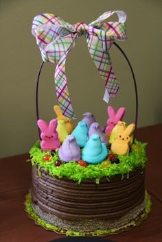 Easter basket ideas, Peep Easter Basket Cake, DIY Easter craft ideas, Easter party decorations  #Easter #ideas #holiday www.loveitsomuch.com