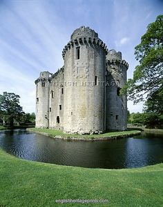 NUNNEY CASTLE, Somerset. View of 14th century, French style castle and moat.