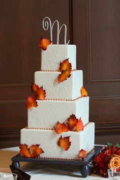 Fall inspired four tier square cake | villasiena.cc