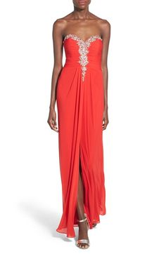 Blondie Nites Blondie Nights Embellished Strapless Gown available at #Nordstrom