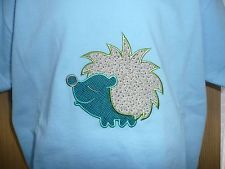 Age 5-6 years - Childs new blue hedgehog embroidered T-shirt """"