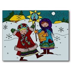 Ukrainian Christmas Carolers Ukrainian Folk Art Postcards