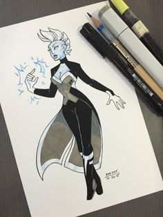 I now completely understand @blueboywonder's obsession. Literal queen. Inktober #22, Storm, again featuring the wonderful @kristaferanka's gorgeous designs. :)