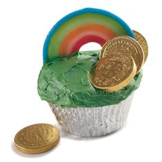Rainbow Cupcakes - It's not far to the gold at the end of this rainbow-topped Emerald Isle cupcake, just the thing for your lads and lasses on St. Patrick's Day.