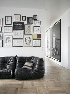 Togo Sofa Black Color Design Used Leather Material as Luxury Living Room