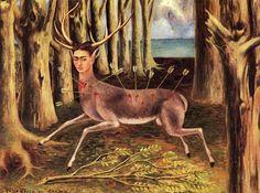 """Frida Khalo """"Le cerf blessé"""" 1946 - Huile sur masonite, 22,4 x 30 cm - Collection privée Houston."""