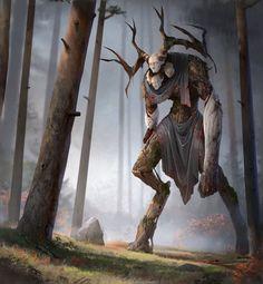 "ArtStation - Lukomorye part Andrew Mironov the Monster from the "" Ritual"". Dark Fantasy Art, Fantasy Artwork, Fantasy Magic, Dark Creatures, Forest Creatures, Mythical Creatures, Arte Horror, Horror Art, Sexy Horror"